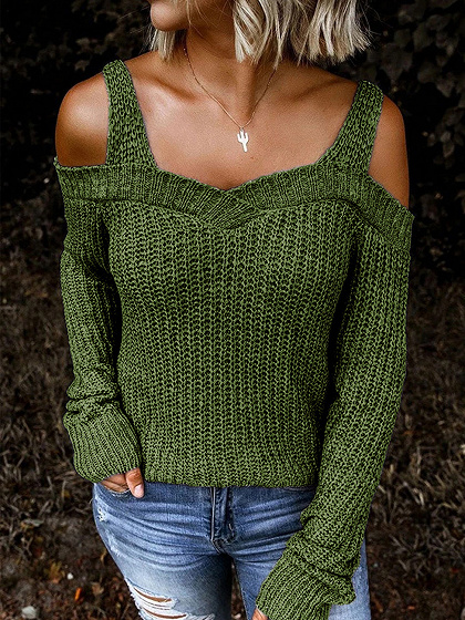 Army Green Cold Shoulder Long Sleeve Sweater