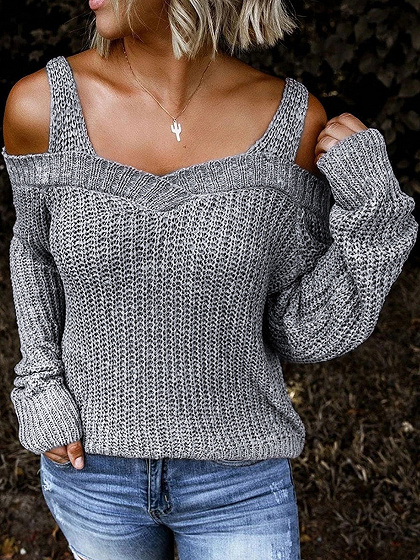 Light Gray Cold Shoulder Long Sleeve Sweater