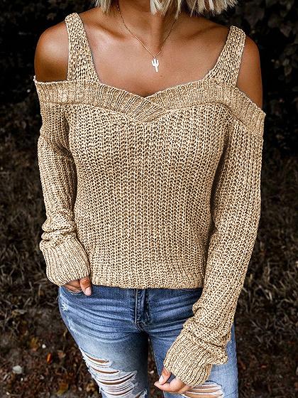 Khaki Cold Shoulder Long Sleeve Sweater