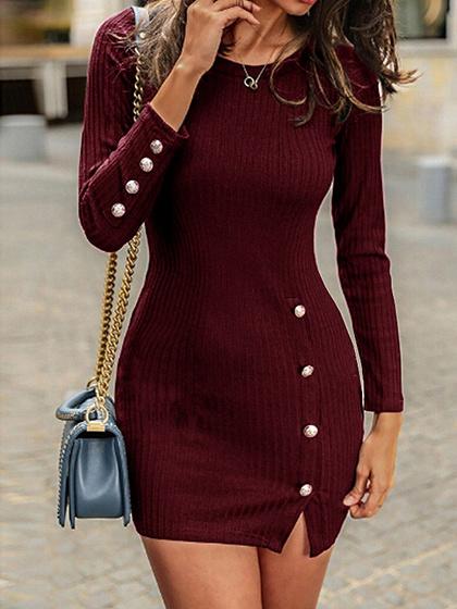 Burgundy Long Sleeve Bodycon Mini Dress