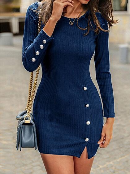Dark Blue Long Sleeve Bodycon Mini Dress
