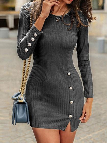 Gray Long Sleeve Bodycon Mini Dress