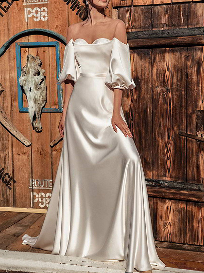 White Off Shoulder Puff Sleeve Maxi Dress