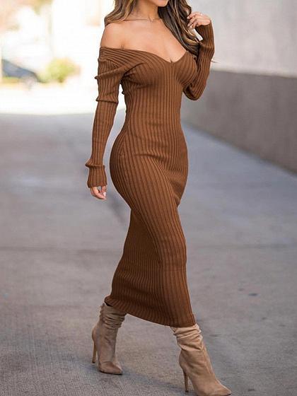 Brown Ribbed V-neck Long Sleeve Maxi Dress