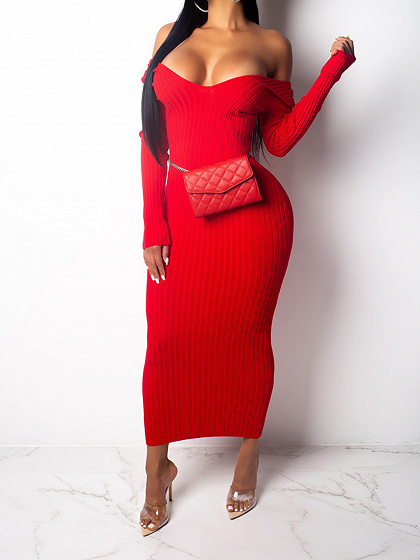 Red Ribbed V-neck Long Sleeve Maxi Dress