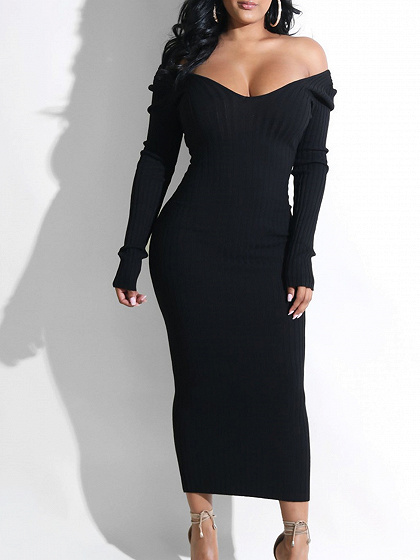 Black Ribbed V-neck Long Sleeve Maxi Dress