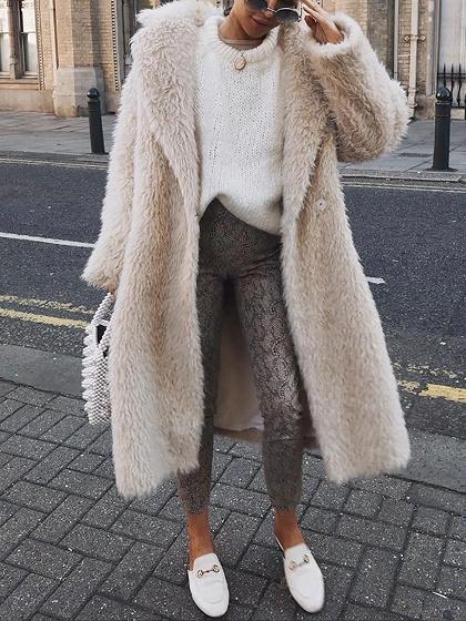 Beige Lapel Long Sleeve Coat