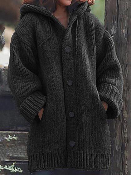 Black Long Sleeve Hoodie Cardigan