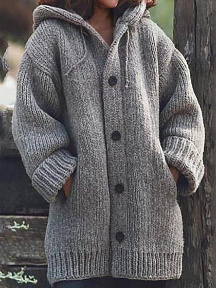 Gray Long Sleeve Hoodie Cardigan