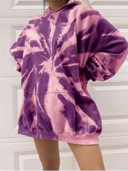 Purple Contrast Long Sleeve Hoodie