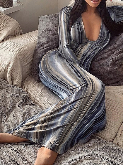 Gray Stripe V-neck Long Sleeve Maxi Dress