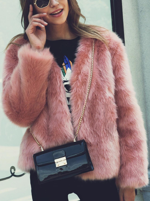 girls winter warm parka faux fur jacket nude fur coat-in